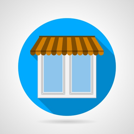window shade: Flat blue icon for window with brown striped canopy and white frame with long shadow on gray background.