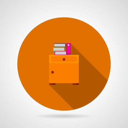 bedside: Round orange flat icon for bedside table with books