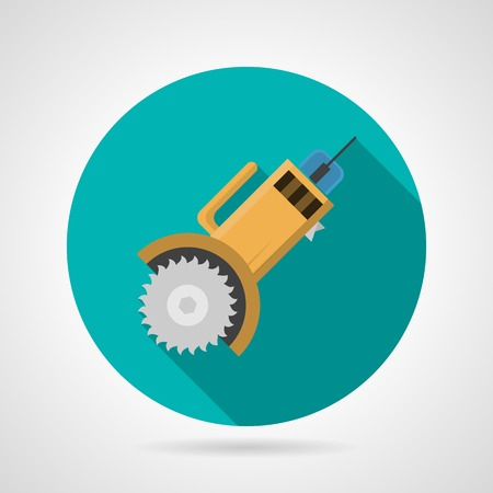 Single round colored flat icon for circular saw with long shadow design on gray background.