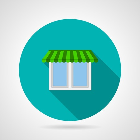 casement: Round blue flat vector icon for store window with striped green canopy and with long shadow design on gray background