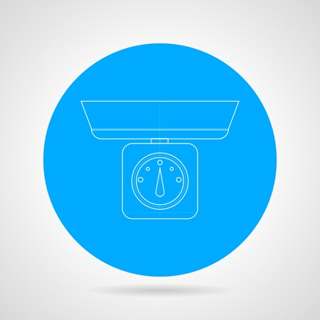 blue white kitchen: Round blue icon with white line mechanical kitchen scales on gray background.