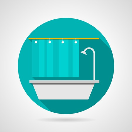 shower curtain: Single colored flat icon for gray bath with rack shower and blue curtain on gray background Illustration