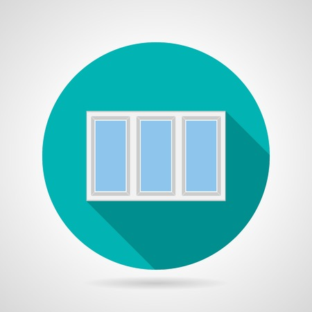 plastic window: Single blue flat icon for plastic window with three department and white frame on gray background