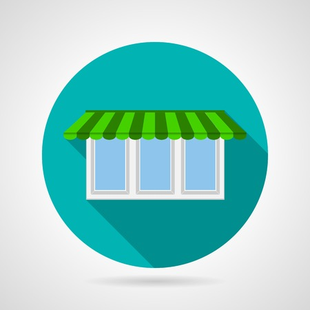 canopy: Single blue flat icon for green canopy plastic window with three department and white frame on gray background Illustration