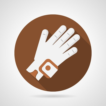 golf glove: Round brown flat icon with white sport glove for golf on gray background