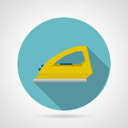 steam iron: Round blue flat icon with yellow modern steam iron side view on gray background