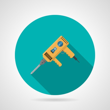 gimlet: Flat round blue icon for yellow drill on gray background Illustration