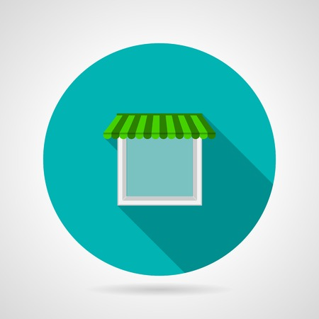 looking through an object: Flat round blue icon for single plastic window with white frame and green striped awning on gray background