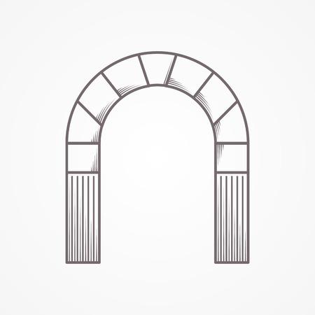 灰色の背景に半円アーチの平坦な線ビンテージ デザイン アイコン。
