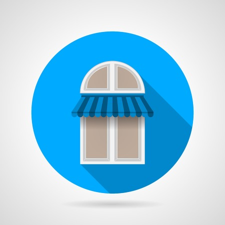 casement: Flat round blue icon for arch window with blue striped canopy on gray background