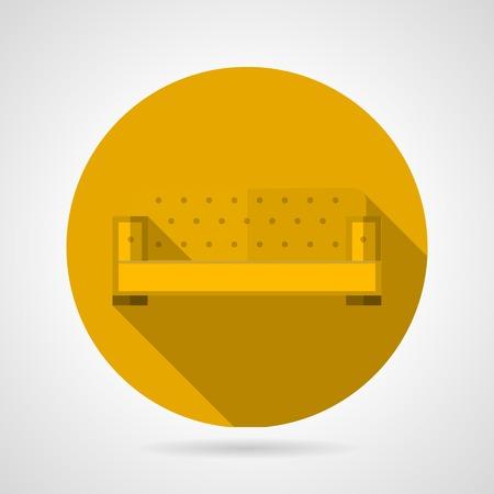 divan: Flat round yellow icon for soft divan on gray background Illustration