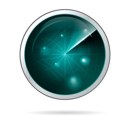 anomalous: Round blue radar screen with curved grid in some anomalous zone. Abstract isolated illustration on white background.