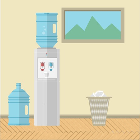 water cooler: Gray water cooler with replacement bottle and paper trash can near the wall with a picture