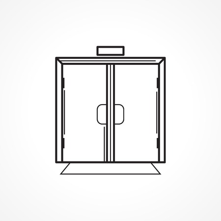 indoors: Black flat line icon for glass transparent indoors double door on white background.