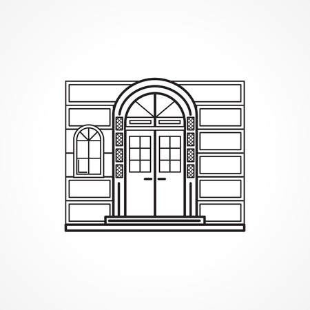 lintel: Black flat line icon for facade arch door with details and window for some shop or hotel or other building on white background.