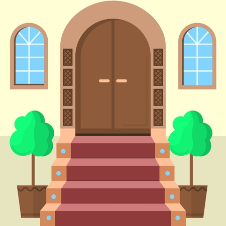 dormer: Brown wooden arch door with symmetry two windows, stairs with red carpet and two symmetry decorative trees. Illustration