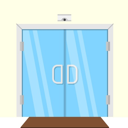 hotel hall: Transparent glass double door for some commercial building interior. Flat design vector illustration