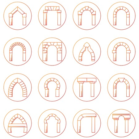 arches: Set of circle red sketch icons for different types and styles of stone arches on white background. Illustration