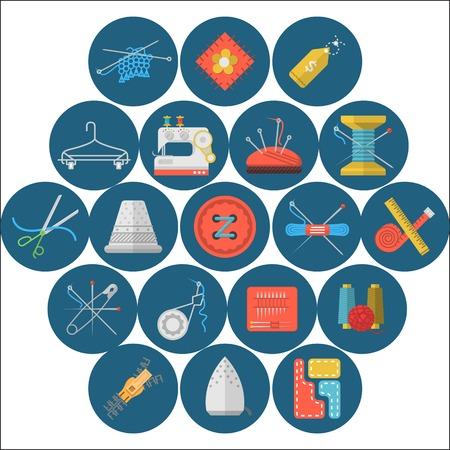 maquinas de coser: Conjunto de iconos planos c�rculo azul para coser y hecho a mano sobre fondo blanco. Vectores