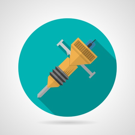 hydraulic platform: Ronda icono azul vector plana para martillo perforador amarillo sobre fondo gris. Dise�o larga sombra. Vectores