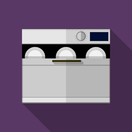 Flat vector icon for gray modern dishwasher machine with plates a front view on purple background. Long shadow design. Vector