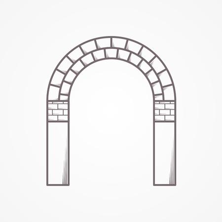 , Linea piatta vintage design vettoriale icona arco in mattoni su sfondo bianco. Archivio Fotografico - 35549092