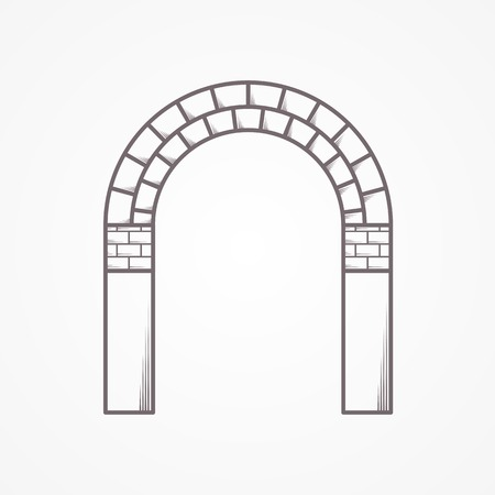 keystone: , Flat line vintage design vector icon for brick arch on white background.