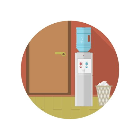 Gray water cooler and paper trash can near the door in room with brown wall. Colored round flat vector icon with long shadow for office.