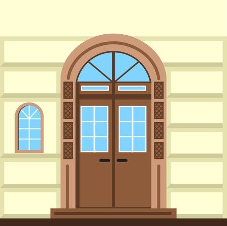Wohnung Farbe Vektor-Illustration der braunen Fassade Tür mit Bogen Rahmen und Fenster im alten Stil.