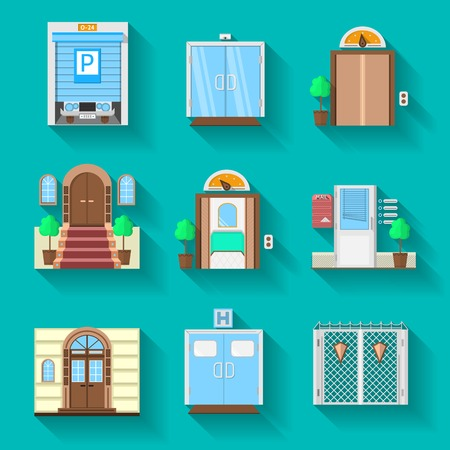 glass door: Different types doors for different situations. Set of flat colorful vector icons with shadow on blue background.