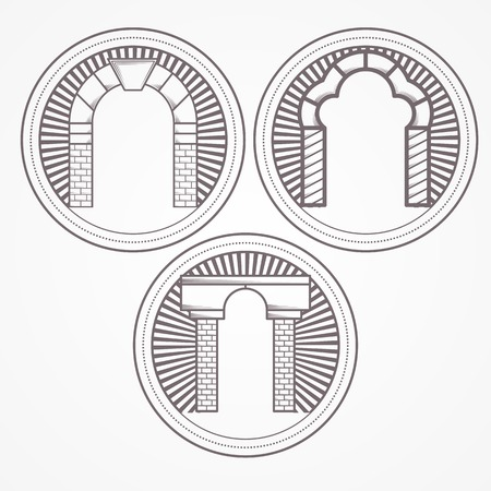Design element with three gray brick arch different shapes. Vintage style round line vector icon for some architecture business on white background. Vector