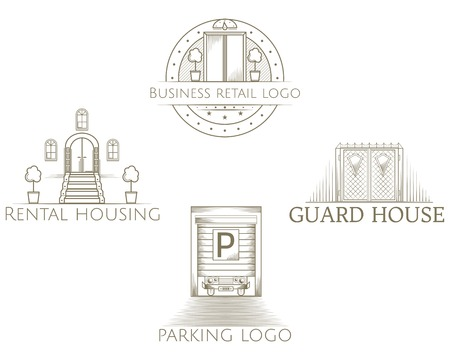 hotel hall: Design element with gray vintage elevator, front doors, iron gates and parking shutter gates line style icons vector collection with sample text for some business center on white background.