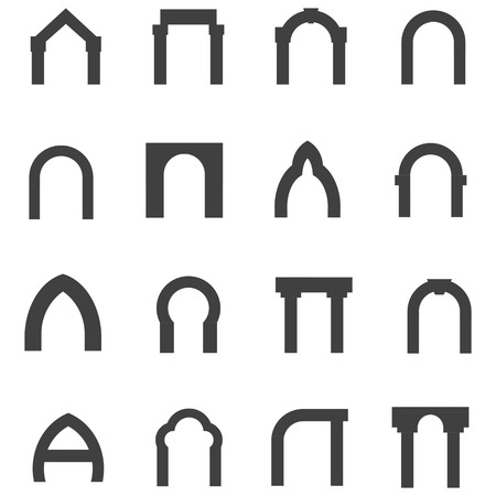 viaduct: Set of black silhouette monolith vector icons for different types of arch on white background.