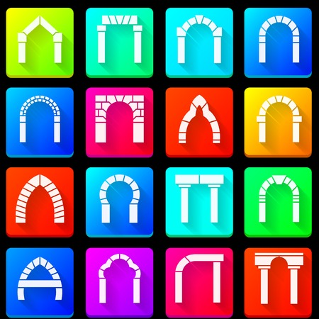 arches: Set of colorful square icons with white silhouette segmental arches with shadow on black background.