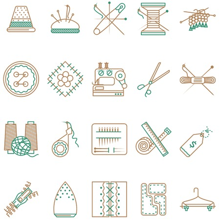 Set of two colored flat line vector icons for handmade, homemade and sewing items on white background. Vector