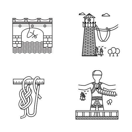 bungee jumping: Conjunto de iconos vectoriales contorno negro por el mismo deporte extremo como cuerda o puenting en el fondo blanco. Vectores