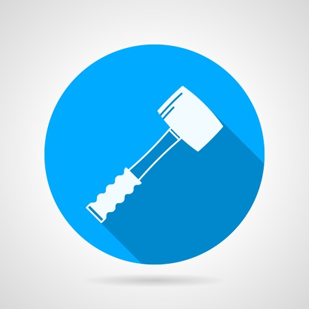 sledgehammer: Round blue flat vector icon with white silhouette sledgehammer on gray background. Long shadow design. Illustration