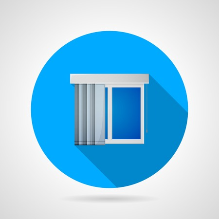 casement: Round blue flat vector icon for gray plastic window with vertical louvers on gray background. Long shadow design. Illustration