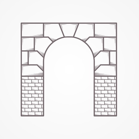 ancient civilization: Flat line vintage design vector icon for brick entrance arch on gray background. Illustration