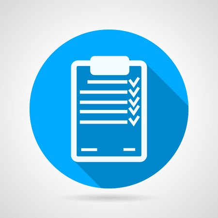 Round blue flat vector icon with white silhouette clipboard with some form or exam on gray background. Long shadow design. Çizim