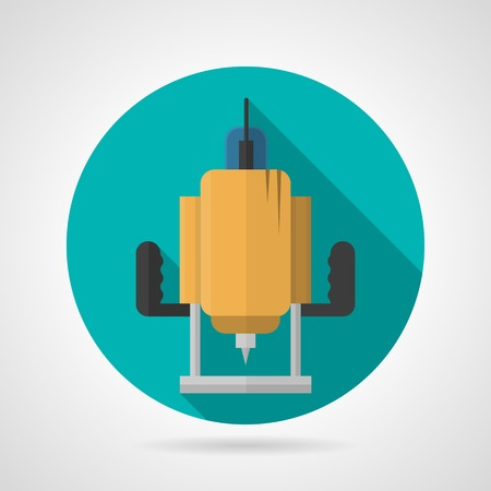 Round blue flat vector icon for yellow milling cutter a front view on gray background. Long shadow design.