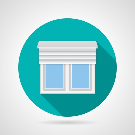 plastic window: Round blue flat vector icon for plastic window with up rolled shutters on gray background. Long shadow design.