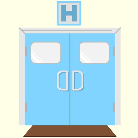 hospital corridor: Blue double entrance door with sign letter H above for hospital. Flat vector icon on white background.