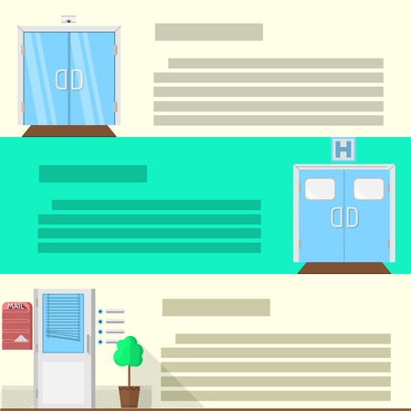 double glass: Double glass door, hospital entrance and office doors with decoration elements. Set of flat colored vector icons with place for text for some building advertising.