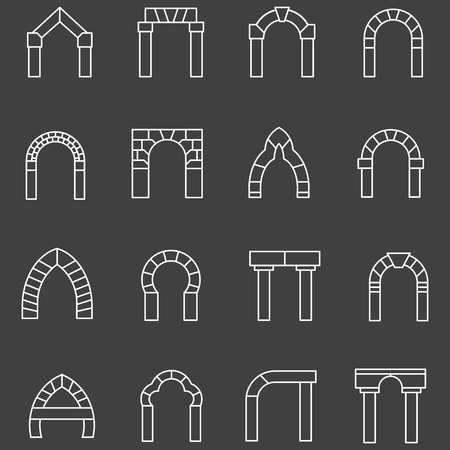 archway: Set of white flat line vector icons for different types segmental archway on black background.
