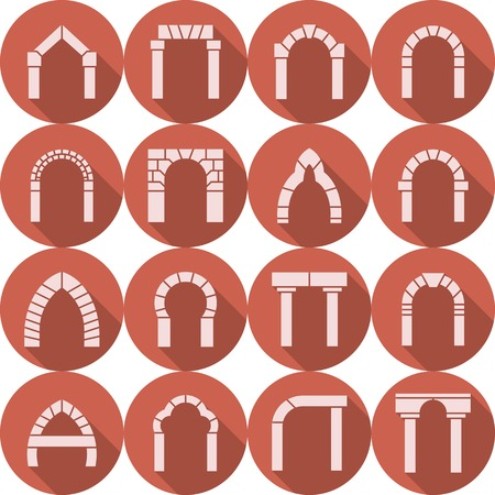 castle interior: Set of red circle flat vector icons with white brick arch silhouette different types with long shadow on white background.