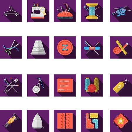 maquinas de coser: Conjunto de cuadrados de color p�rpura iconos vectoriales planas para coser y art�culos hechos a mano con una larga sombra sobre fondo blanco.