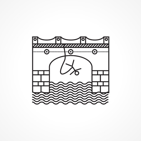 rope bridge: Flat line conceptual black vector icon for rope jumping from arch bridge on white background. Design element for your website or business.