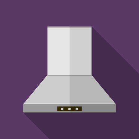 extractor: Flat vector icon for gray steel kitchen hood extractor a front view on purple background. Long shadow design.