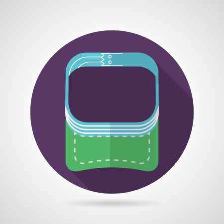 fastener: Circle purple flat vector icon for sport green visor with white seams on gray background. Long shadow design. Illustration
